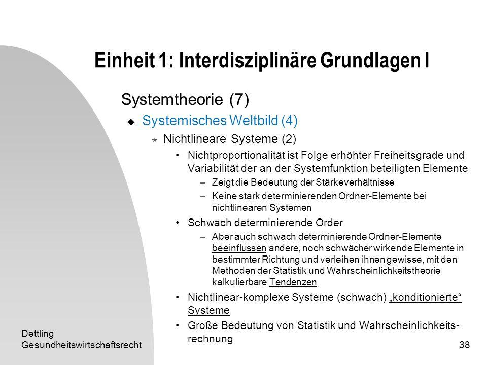Dettling Gesundheitswirtschaftsrecht38 Einheit 1: Interdisziplinäre Grundlagen I Systemtheorie (7) Systemisches Weltbild (4) Nichtlineare Systeme (2)