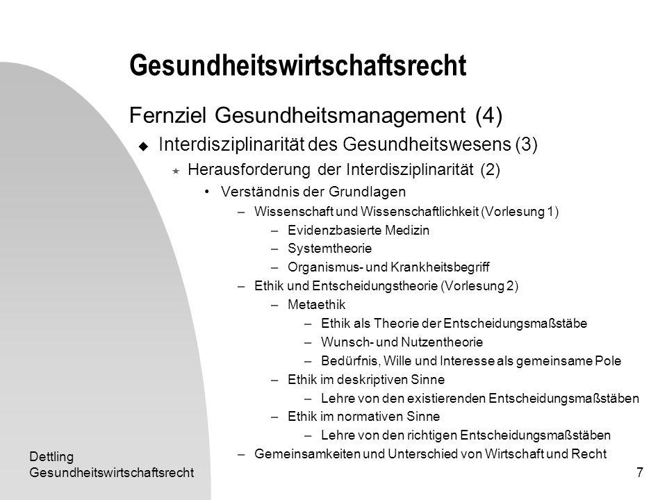Dettling Gesundheitswirtschaftsrecht7 Fernziel Gesundheitsmanagement (4) Interdisziplinarität des Gesundheitswesens (3) Herausforderung der Interdiszi