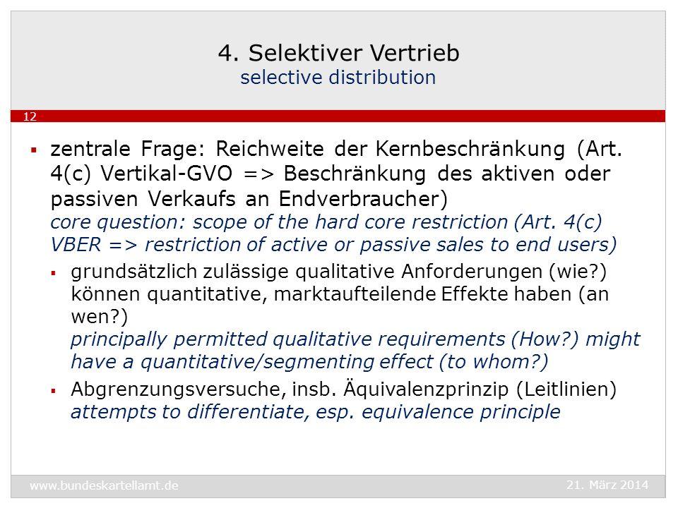 zentrale Frage: Reichweite der Kernbeschränkung (Art. 4(c) Vertikal-GVO => Beschränkung des aktiven oder passiven Verkaufs an Endverbraucher) core que
