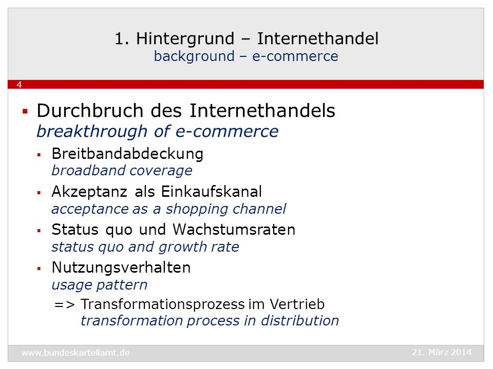 Eigenschaften + Folgen des elektronischen Handels characteristics + consequences of e-commerce erhöhte Transparenz + verringerte Transaktionskosten increased transparency + reduced transaction costs erweiterte räumliche Absatzgebiete increased geographic sales areas verringerte Kosten der Distribution reduced distribution costs => erhöhter Wettbewerbsdruck growing competitive pressure 1.