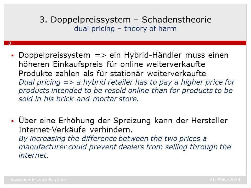 Doppelpreissystem => ein Hybrid-Händler muss einen höheren Einkaufspreis für online weiterverkaufte Produkte zahlen als für stationär weiterverkaufte