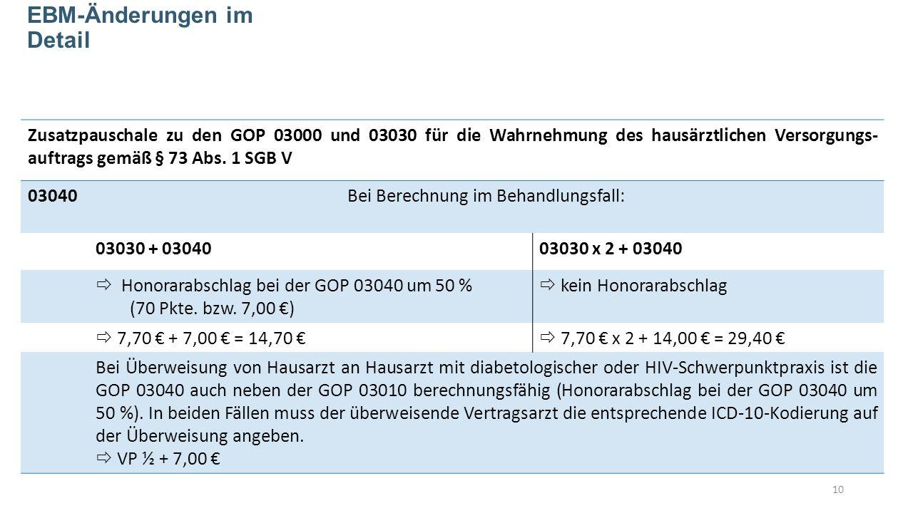 Zusatzpauschale zu den GOP 03000 und 03030 für die Wahrnehmung des hausärztlichen Versorgungs- auftrags gemäß § 73 Abs.