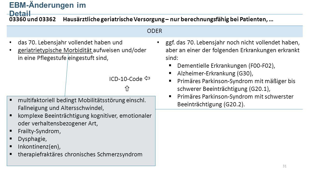31 EBM-Änderungen im Detail 03360 und 03362Hausärztliche geriatrische Versorgung – nur berechnungsfähig bei Patienten, … ODER das 70.