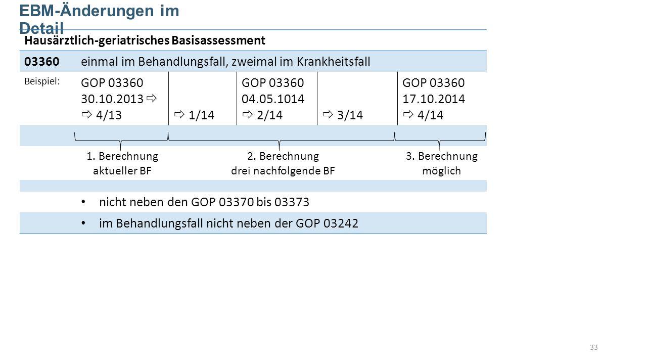 33 EBM-Änderungen im Detail Hausärztlich-geriatrisches Basisassessment 03360einmal im Behandlungsfall, zweimal im Krankheitsfall Beispiel: GOP 03360 30.10.2013 4/13 1/14 GOP 03360 04.05.1014 2/14 3/14 GOP 03360 17.10.2014 4/14 1.