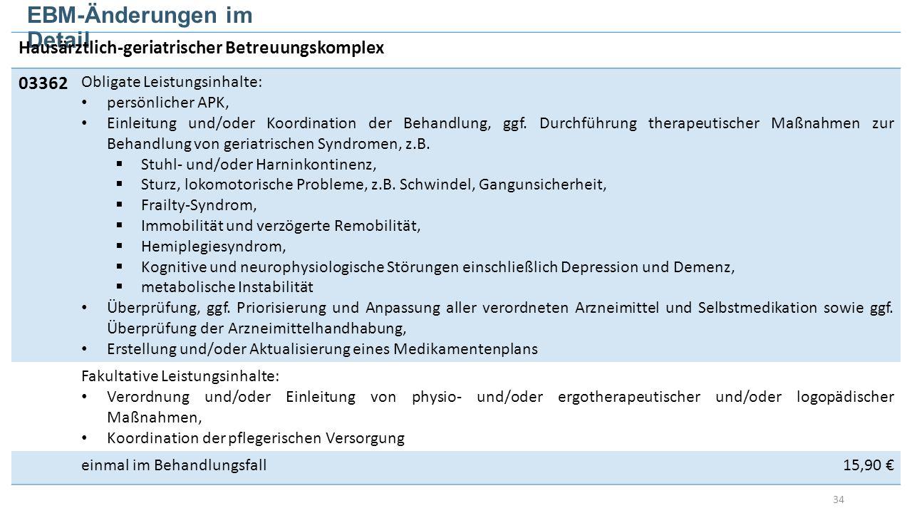 34 EBM-Änderungen im Detail Hausärztlich-geriatrischer Betreuungskomplex 03362 Obligate Leistungsinhalte: persönlicher APK, Einleitung und/oder Koordination der Behandlung, ggf.