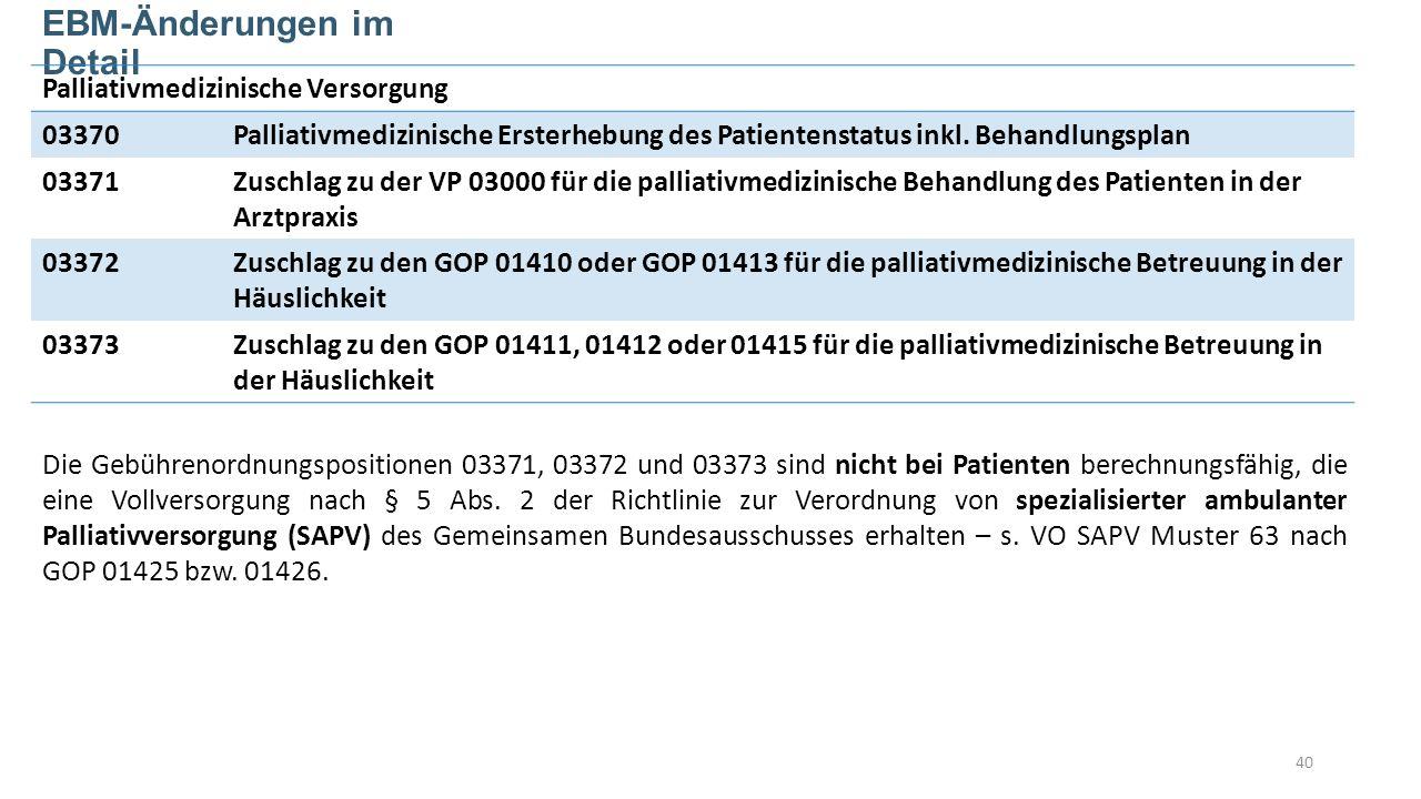 40 EBM-Änderungen im Detail Palliativmedizinische Versorgung 03370Palliativmedizinische Ersterhebung des Patientenstatus inkl.