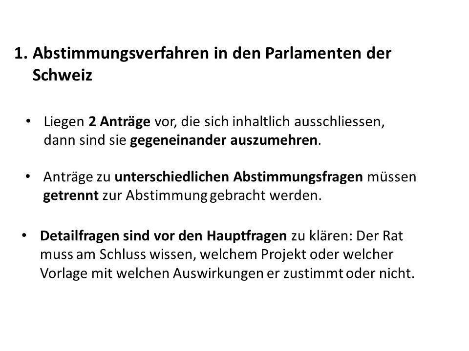 1. Abstimmungsverfahren in den Parlamenten der Schweiz Liegen 2 Anträge vor, die sich inhaltlich ausschliessen, dann sind sie gegeneinander auszumehre