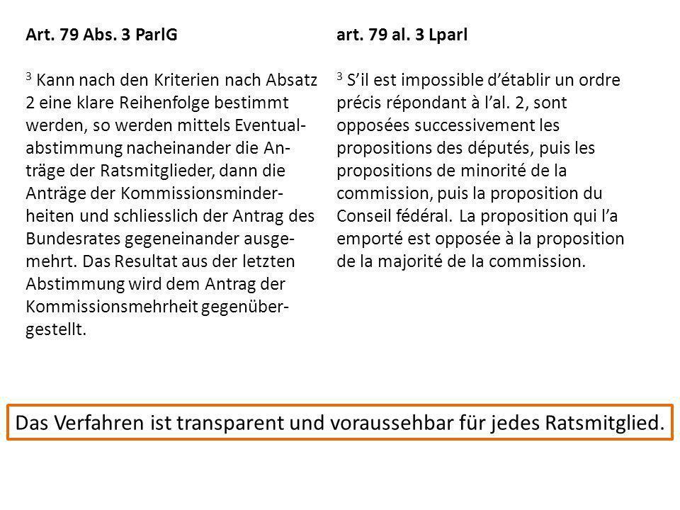 Art. 79 Abs. 3 ParlG 3 Kann nach den Kriterien nach Absatz 2 eine klare Reihenfolge bestimmt werden, so werden mittels Eventual- abstimmung nacheinand