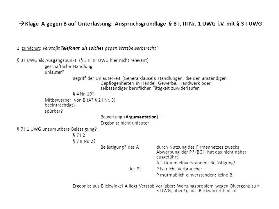 Klage A gegen B auf Unterlassung: Anspruchsgrundlage § 8 I, III Nr. 1 UWG i.V. mit § 3 I UWG 1. zunächst: Verstößt Telefonat als solches gegen Wettbew