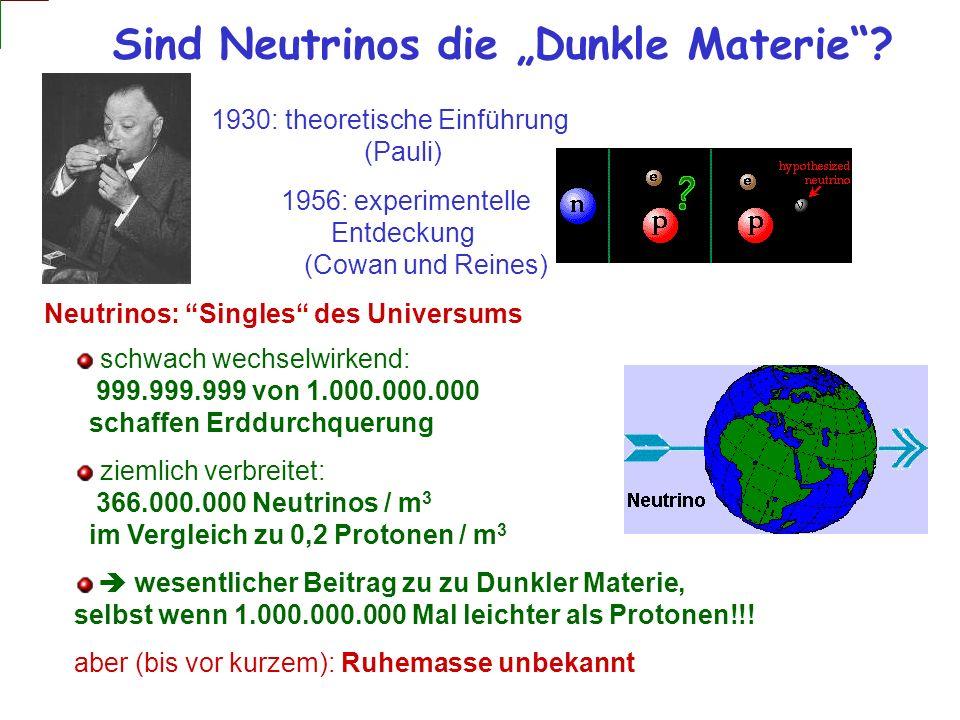 Sind Neutrinos die Dunkle Materie? 1930: theoretische Einführung (Pauli) 1956: experimentelle Entdeckung (Cowan und Reines) schwach wechselwirkend: 99