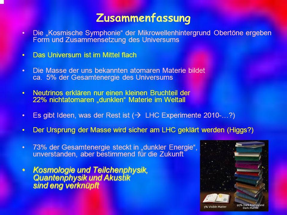Zusammenfassung Die Kosmische Symphonie der Mikrowellenhintergrund Obertöne ergeben Form und Zusammensetzung des Universums Das Universum ist im Mitte