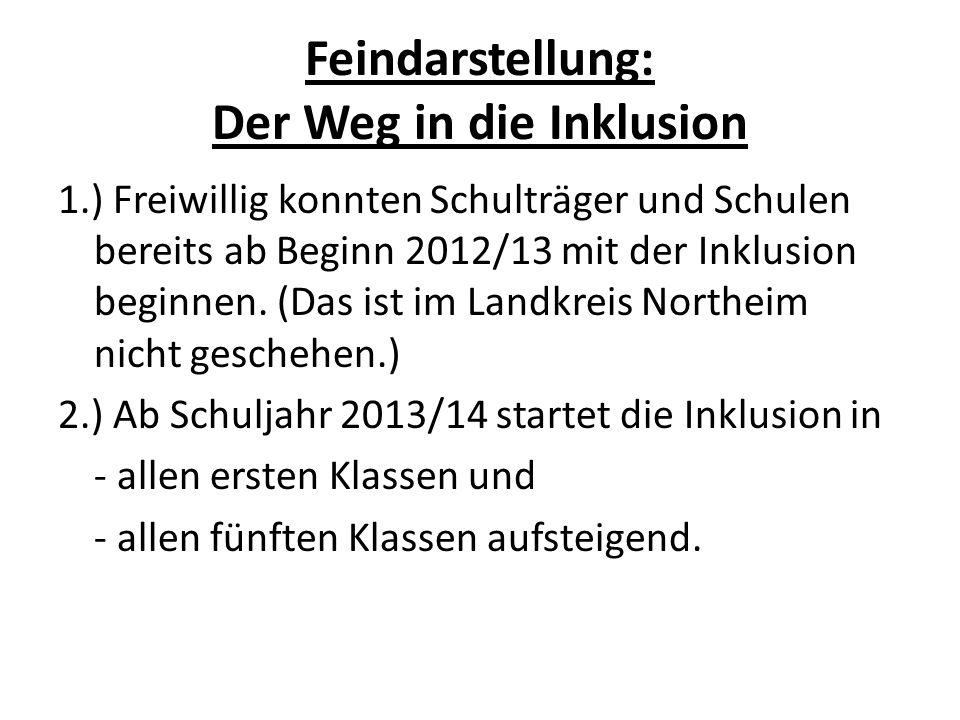 Feindarstellung: Der Weg in die Inklusion 1.) Freiwillig konnten Schulträger und Schulen bereits ab Beginn 2012/13 mit der Inklusion beginnen. (Das is