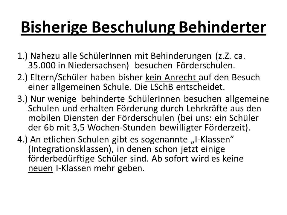 Bisherige Beschulung Behinderter 1.) Nahezu alle SchülerInnen mit Behinderungen (z.Z. ca. 35.000 in Niedersachsen) besuchen Förderschulen. 2.) Eltern/
