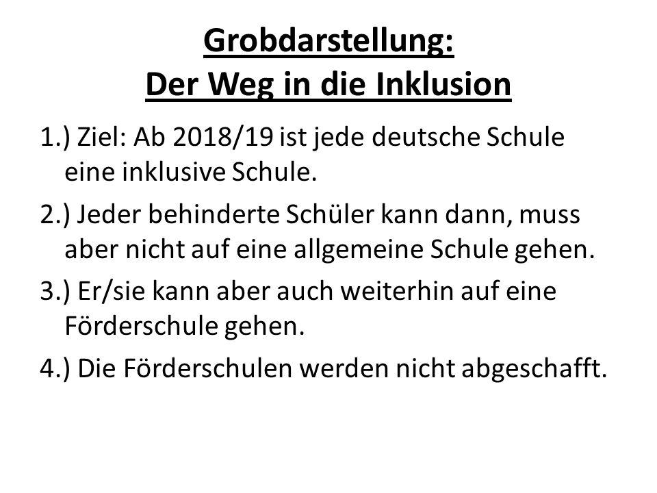 Grobdarstellung: Der Weg in die Inklusion 1.) Ziel: Ab 2018/19 ist jede deutsche Schule eine inklusive Schule. 2.) Jeder behinderte Schüler kann dann,