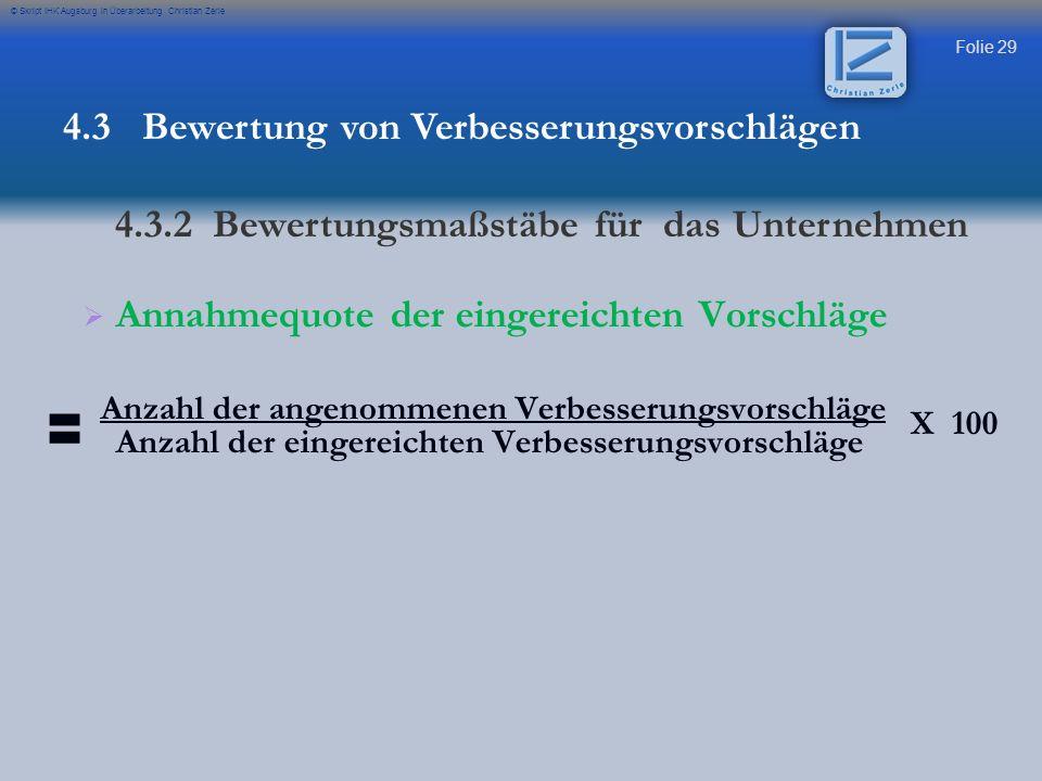 Folie 29 © Skript IHK Augsburg in Überarbeitung Christian Zerle Annahmequote der eingereichten Vorschläge Anzahl der angenommenen Verbesserungsvorschl