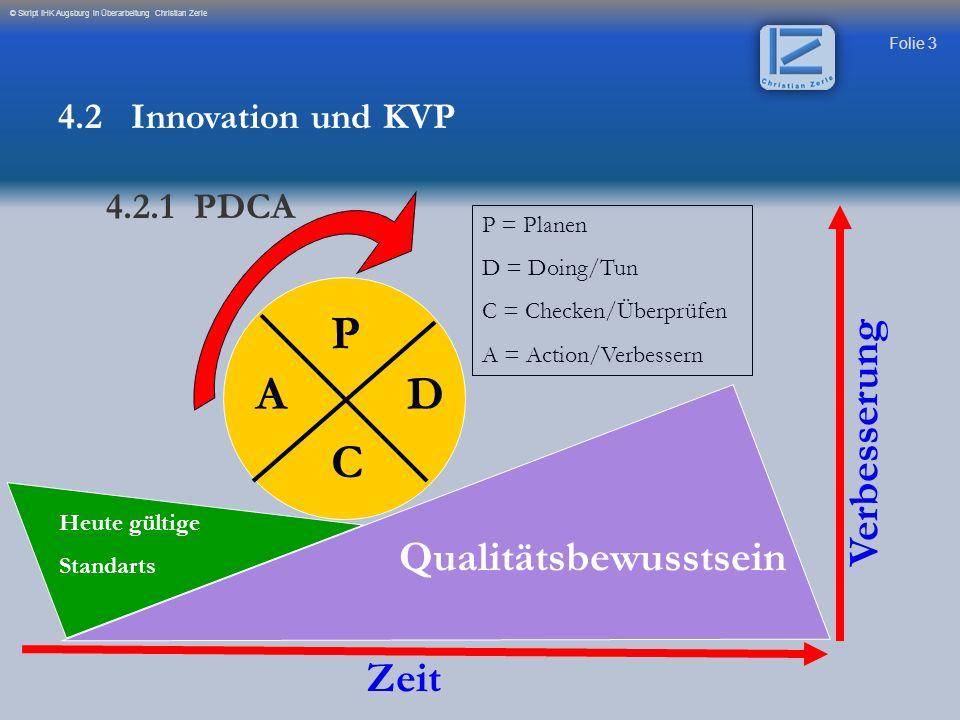 Folie 3 © Skript IHK Augsburg in Überarbeitung Christian Zerle P AD C Heute gültige Standarts Qualitätsbewusstsein Zeit Verbesserung P = Planen D = Do