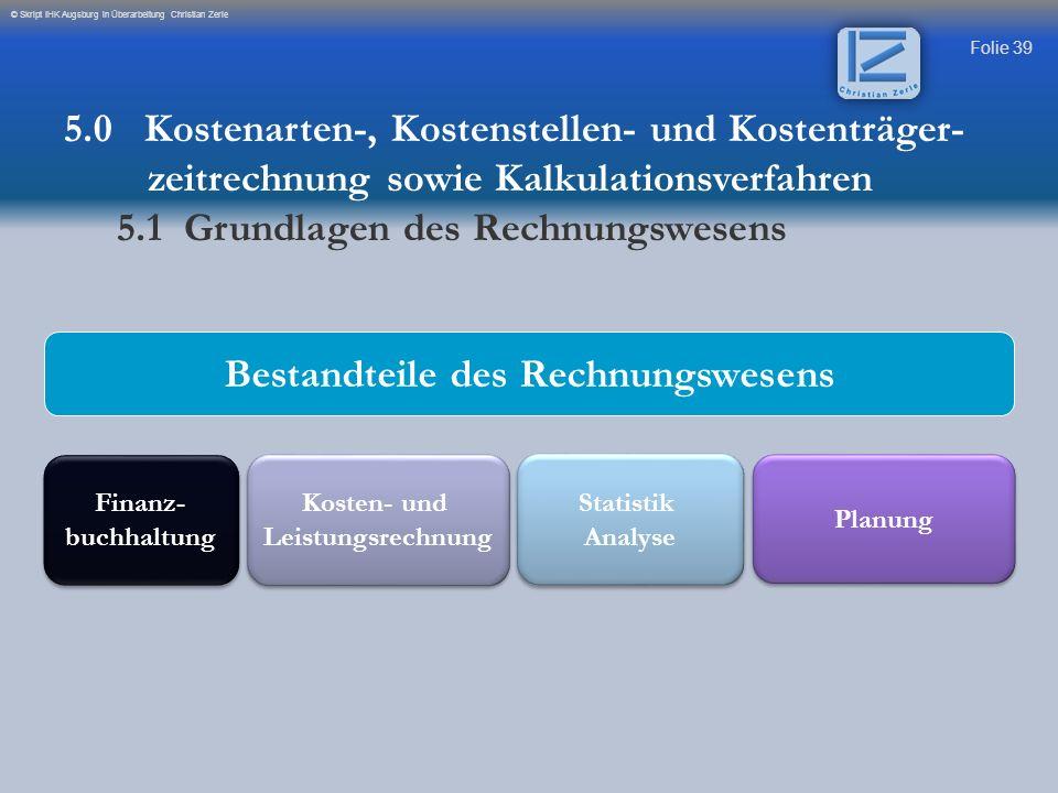 Folie 39 © Skript IHK Augsburg in Überarbeitung Christian Zerle Bestandteile des Rechnungswesens Finanz- buchhaltung Finanz- buchhaltung Statistik Ana