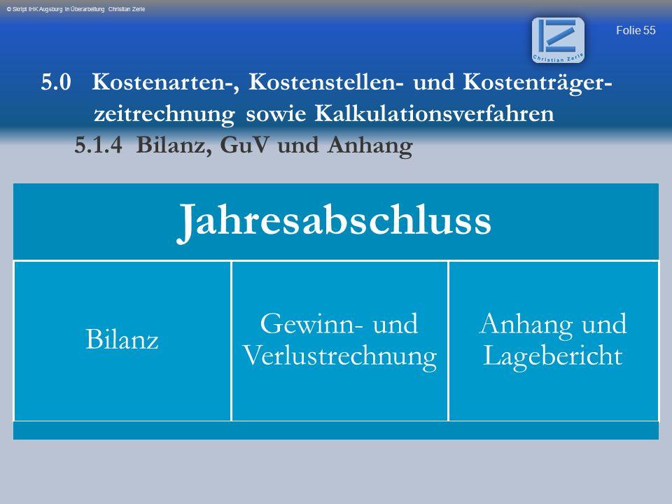 Folie 55 © Skript IHK Augsburg in Überarbeitung Christian Zerle 5.0 Kostenarten-, Kostenstellen- und Kostenträger- zeitrechnung sowie Kalkulationsverf