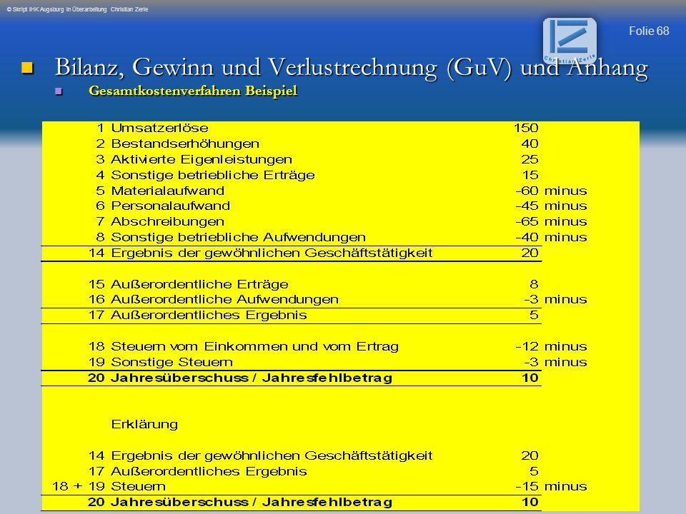 Folie 68 © Skript IHK Augsburg in Überarbeitung Christian Zerle Bilanz, Gewinn und Verlustrechnung (GuV) und Anhang Bilanz, Gewinn und Verlustrechnung