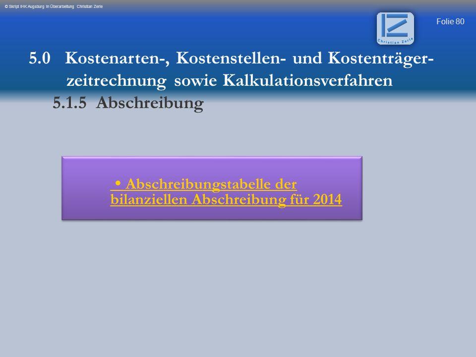 Folie 80 © Skript IHK Augsburg in Überarbeitung Christian Zerle Abschreibungstabelle der bilanziellen Abschreibung für 2014 Abschreibungstabelle der b