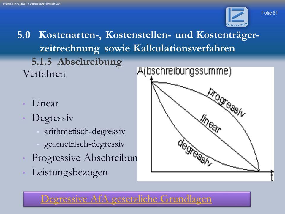Folie 81 © Skript IHK Augsburg in Überarbeitung Christian Zerle Verfahren Linear Degressiv arithmetisch-degressiv geometrisch-degressiv Progressive Ab