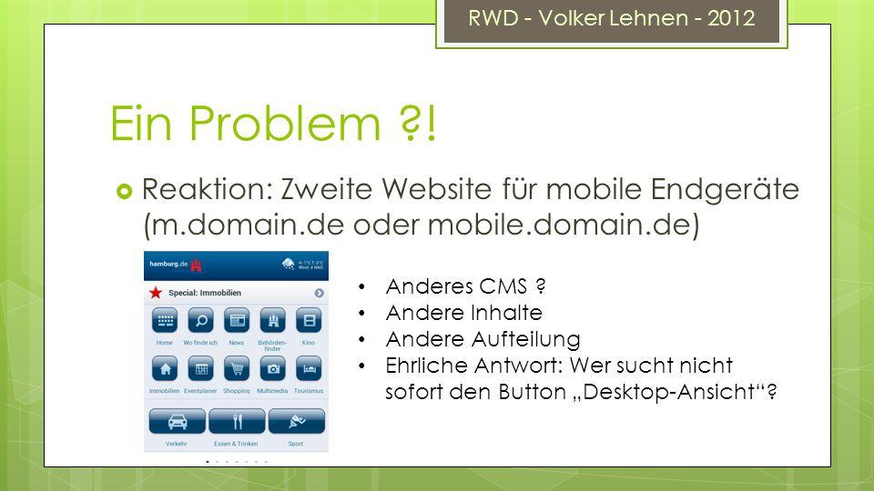 RWD - Volker Lehnen - 2012 Ein Problem ?.