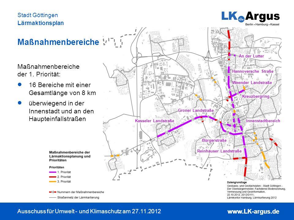 www.LK-argus.de Ausschuss für Umwelt - und Klimaschutz am 27.11.2012 Stadt Göttingen Lärmaktionsplan www.LK-argus.de Maßnahmenbereiche Maßnahmenbereic