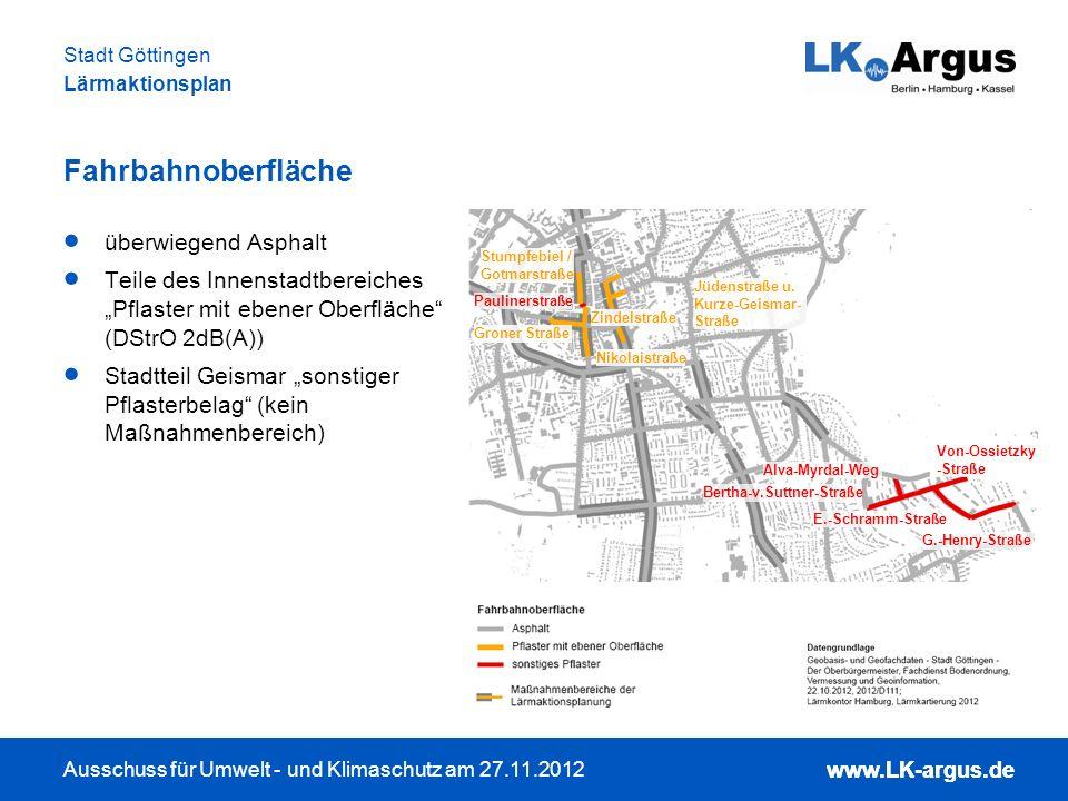 www.LK-argus.de Ausschuss für Umwelt - und Klimaschutz am 27.11.2012 Stadt Göttingen Lärmaktionsplan www.LK-argus.de Fahrbahnoberfläche überwiegend As