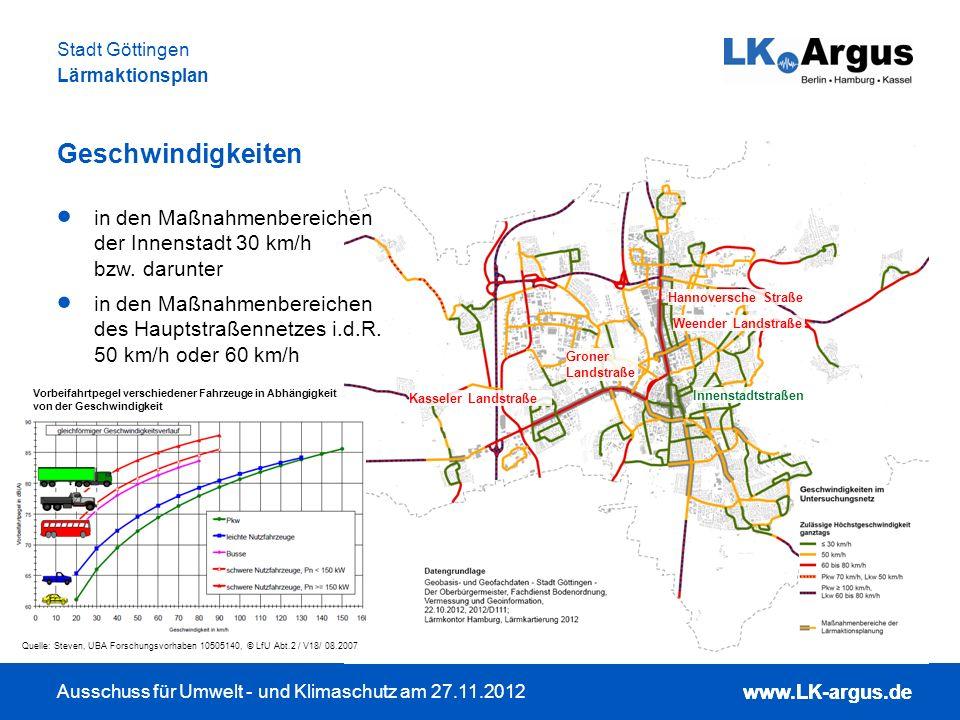 www.LK-argus.de Ausschuss für Umwelt - und Klimaschutz am 27.11.2012 Stadt Göttingen Lärmaktionsplan www.LK-argus.de Geschwindigkeiten Innenstadtstraß