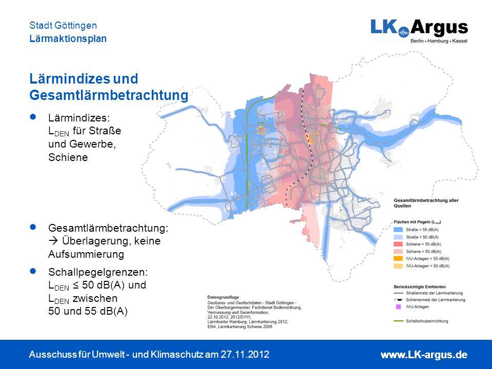 www.LK-argus.de Ausschuss für Umwelt - und Klimaschutz am 27.11.2012 Stadt Göttingen Lärmaktionsplan www.LK-argus.de Lärmindizes: L DEN für Straße und