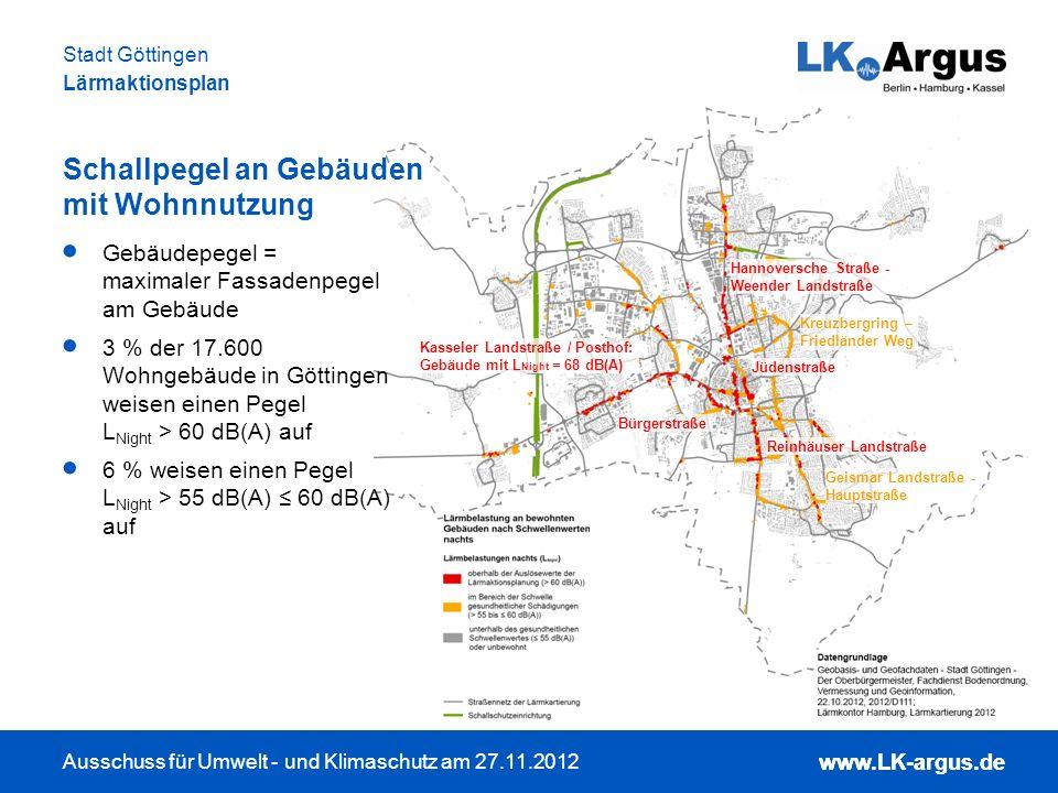 www.LK-argus.de Ausschuss für Umwelt - und Klimaschutz am 27.11.2012 Stadt Göttingen Lärmaktionsplan www.LK-argus.de Lärmbetroffenheit LärmKennZiffer: Lärmbetroffenheit nach Einwohnern und Höhe der Lärmbelastung Lärmbetroffenheit sensibler Einrichtungen: Schulen und Krankenhäuser Schwellen: L DEN > 65 dB(A), L Night > 55 dB(A) Schulen an der Bürgerstraße In welchen Bereichen sind die meisten Menschen hohen Lärmbelastungen ausgesetzt?