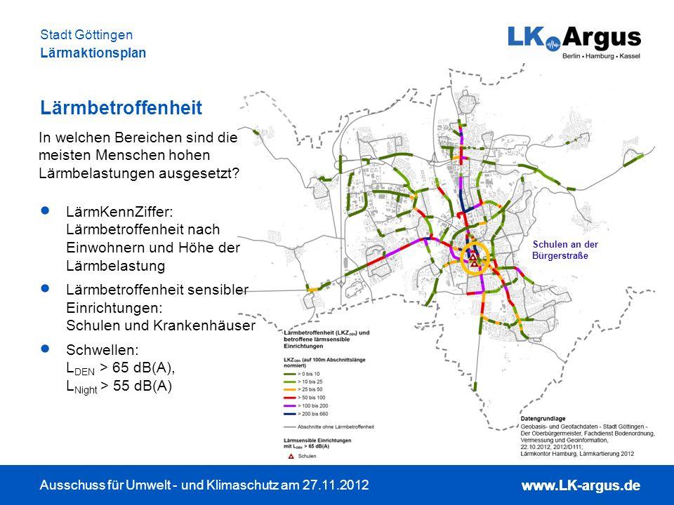 www.LK-argus.de Ausschuss für Umwelt - und Klimaschutz am 27.11.2012 Stadt Göttingen Lärmaktionsplan www.LK-argus.de Lärmbetroffenheit LärmKennZiffer: