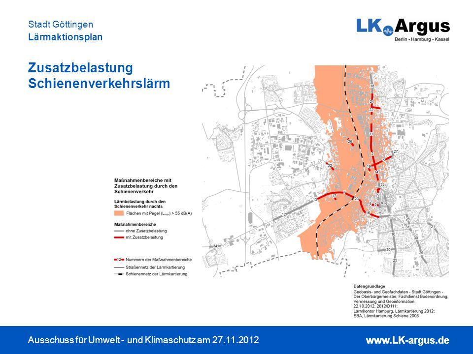 www.LK-argus.de Ausschuss für Umwelt - und Klimaschutz am 27.11.2012 Stadt Göttingen Lärmaktionsplan www.LK-argus.de Zusatzbelastung Schienenverkehrsl