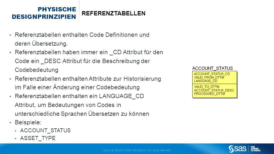 Copyright © 2014, SAS Institute Inc. All rights reserved. PHYSISCHE DESIGNPRINZIPIEN REFERENZTABELLEN Referenztabellen enthalten Code Definitionen und