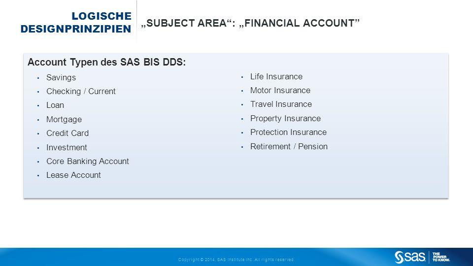 Copyright © 2014, SAS Institute Inc. All rights reserved. LOGISCHE DESIGNPRINZIPIEN SUBJECT AREA: FINANCIAL ACCOUNT Account Typen des SAS BIS DDS: Sav
