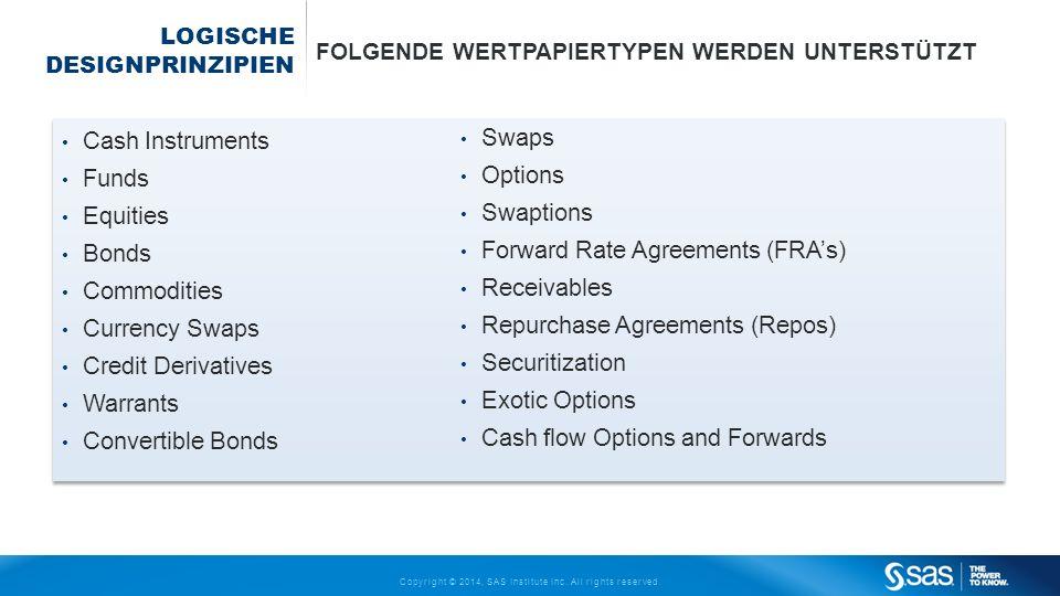 Copyright © 2014, SAS Institute Inc. All rights reserved. LOGISCHE DESIGNPRINZIPIEN FOLGENDE WERTPAPIERTYPEN WERDEN UNTERSTÜTZT Cash Instruments Funds