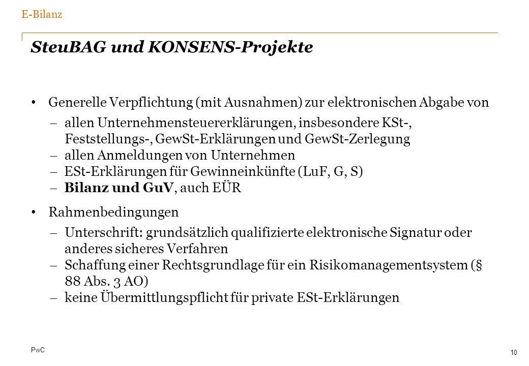 PwC SteuBAG und KONSENS-Projekte Generelle Verpflichtung (mit Ausnahmen) zur elektronischen Abgabe von allen Unternehmensteuererklärungen, insbesonder