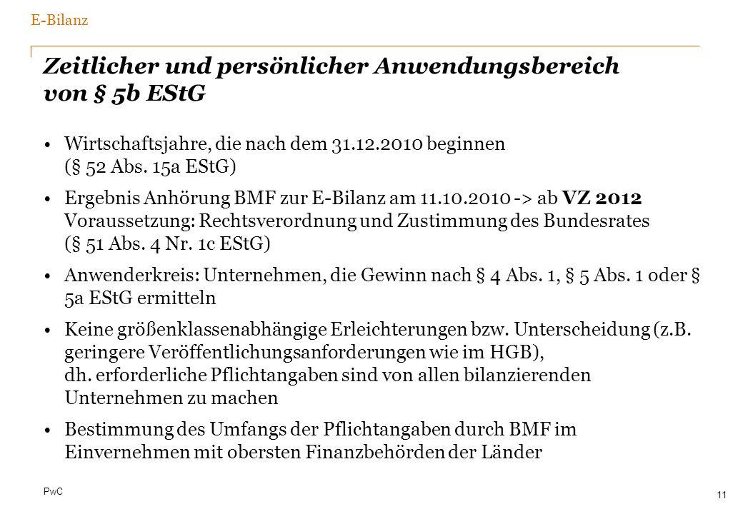 PwC Zeitlicher und persönlicher Anwendungsbereich von § 5b EStG Wirtschaftsjahre, die nach dem 31.12.2010 beginnen (§ 52 Abs. 15a EStG) Ergebnis Anhör