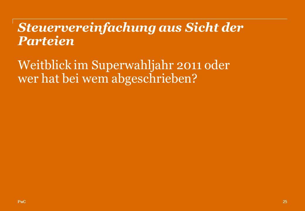 PwC Steuervereinfachung aus Sicht der Parteien 25 Weitblick im Superwahljahr 2011 oder wer hat bei wem abgeschrieben?