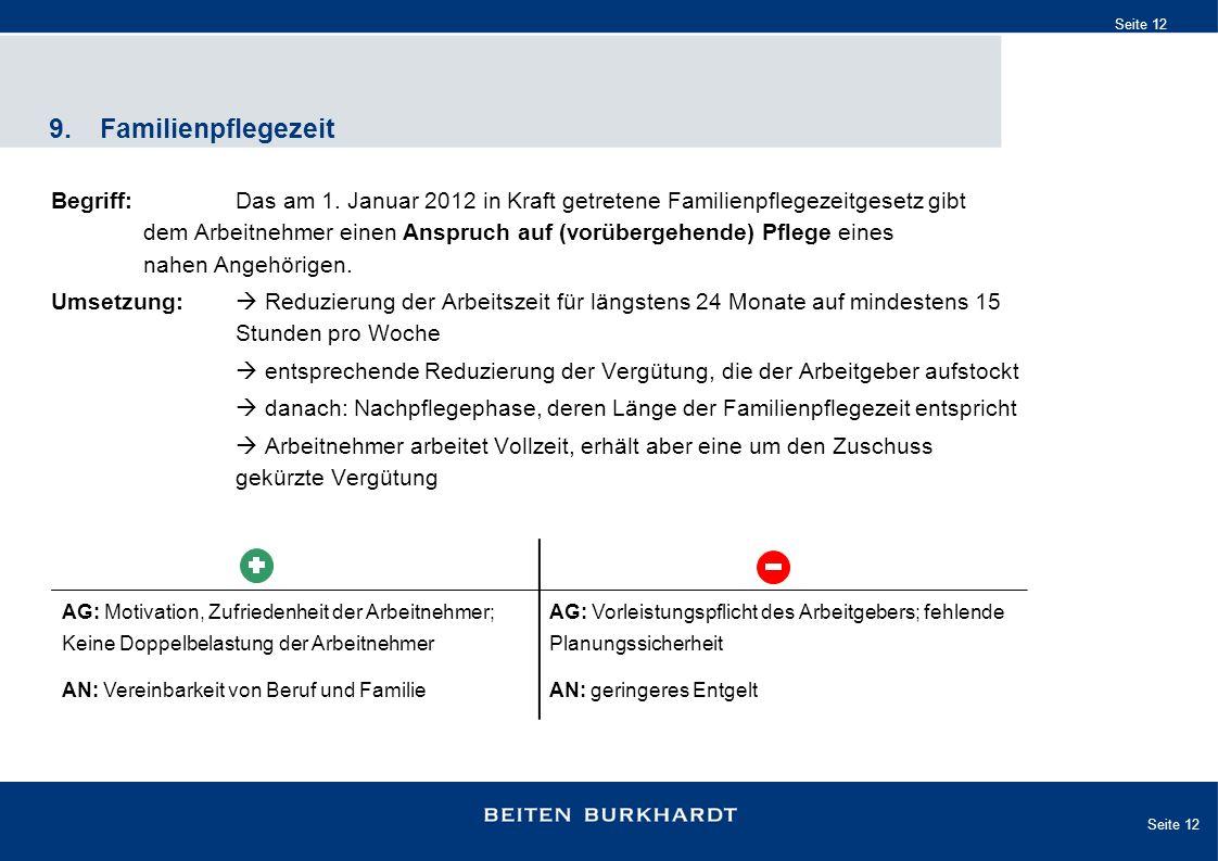 Seite 12 9.Familienpflegezeit Begriff:Das am 1. Januar 2012 in Kraft getretene Familienpflegezeitgesetz gibt dem Arbeitnehmer einen Anspruch auf (vorü