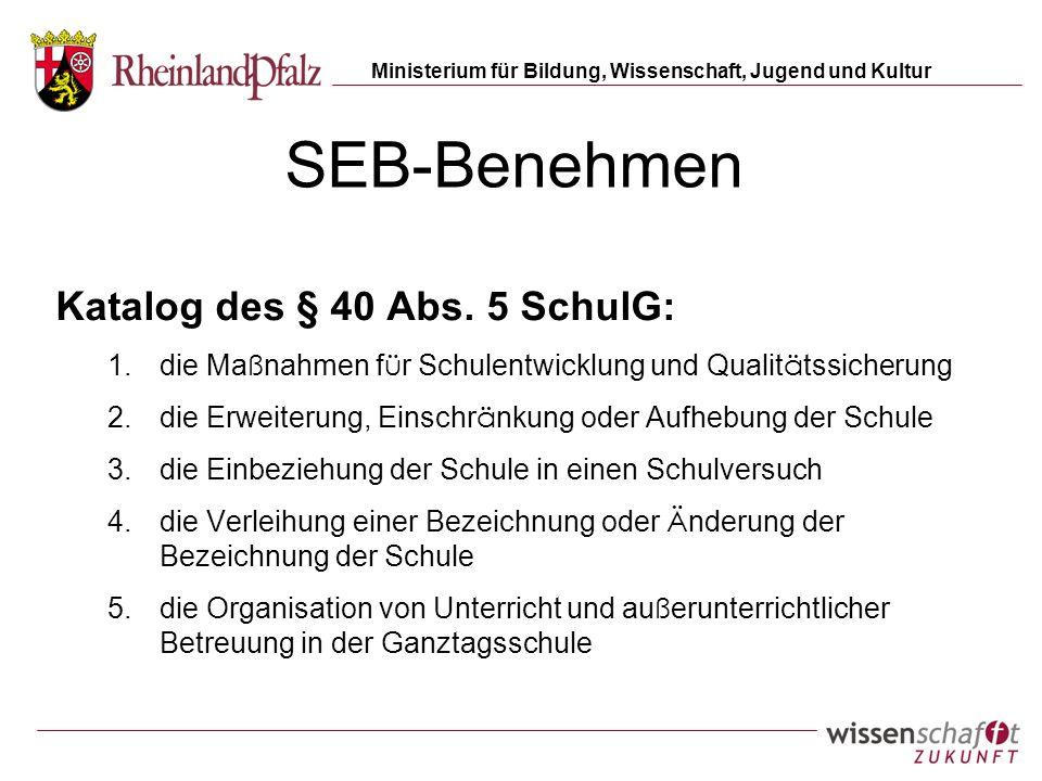 Ministerium für Bildung, Wissenschaft, Jugend und Kultur SEB-Benehmen Katalog des § 40 Abs. 5 SchulG: 1.die Ma ß nahmen f ü r Schulentwicklung und Qua