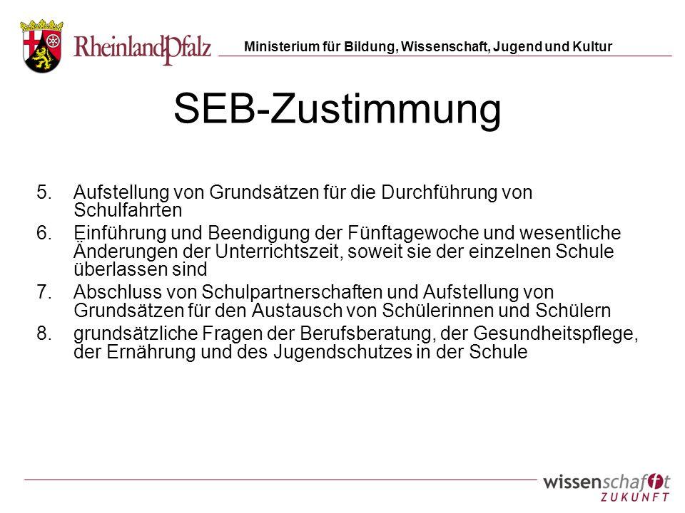 Ministerium für Bildung, Wissenschaft, Jugend und Kultur SEB-Zustimmung 5.Aufstellung von Grundsätzen für die Durchführung von Schulfahrten 6.Einführu