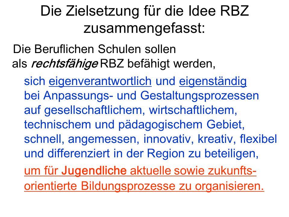 Die Beruflichen Schulen sollen als rechtsfähige RBZ befähigt werden, sich eigenverantwortlich und eigenständig bei Anpassungs- und Gestaltungsprozesse