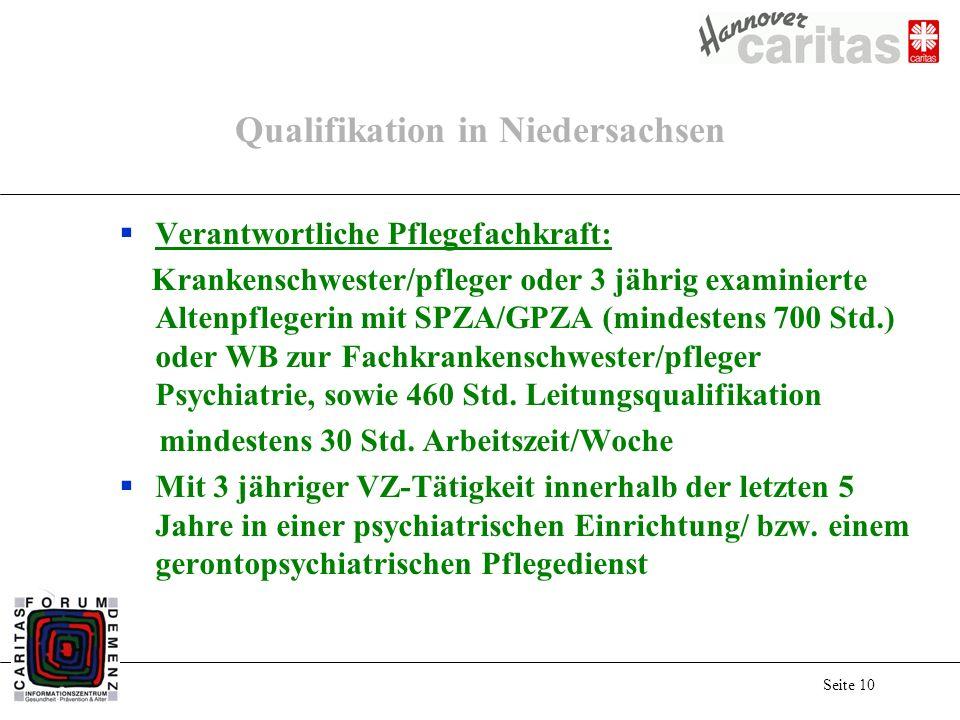 Seite 10 Qualifikation in Niedersachsen Verantwortliche Pflegefachkraft: Krankenschwester/pfleger oder 3 jährig examinierte Altenpflegerin mit SPZA/GPZA (mindestens 700 Std.) oder WB zur Fachkrankenschwester/pfleger Psychiatrie, sowie 460 Std.