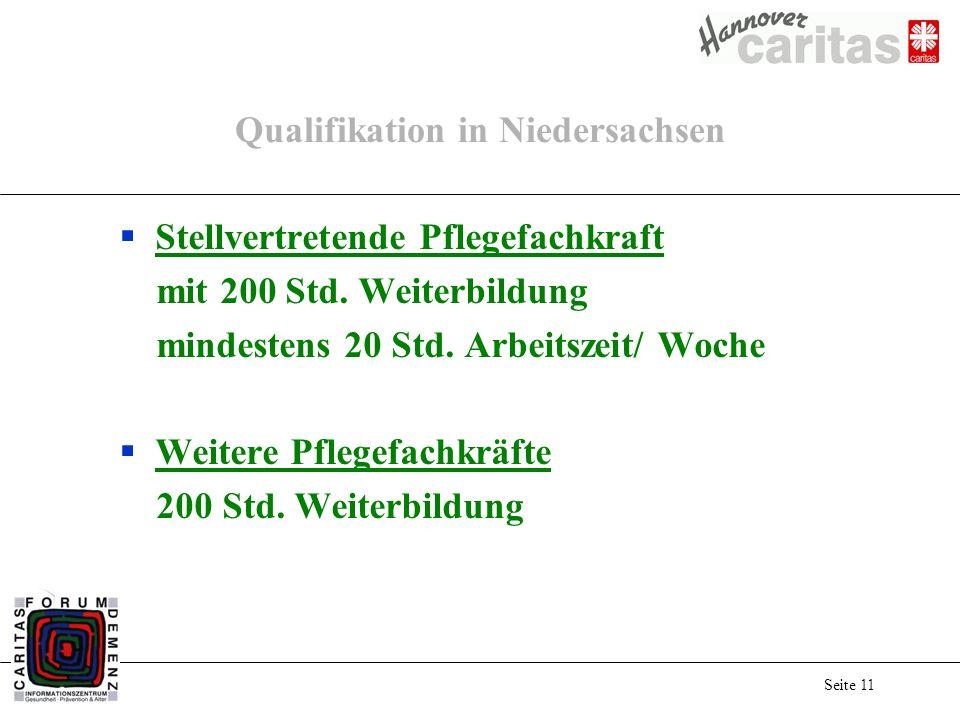 Seite 11 Qualifikation in Niedersachsen Stellvertretende Pflegefachkraft mit 200 Std. Weiterbildung mindestens 20 Std. Arbeitszeit/ Woche Weitere Pfle