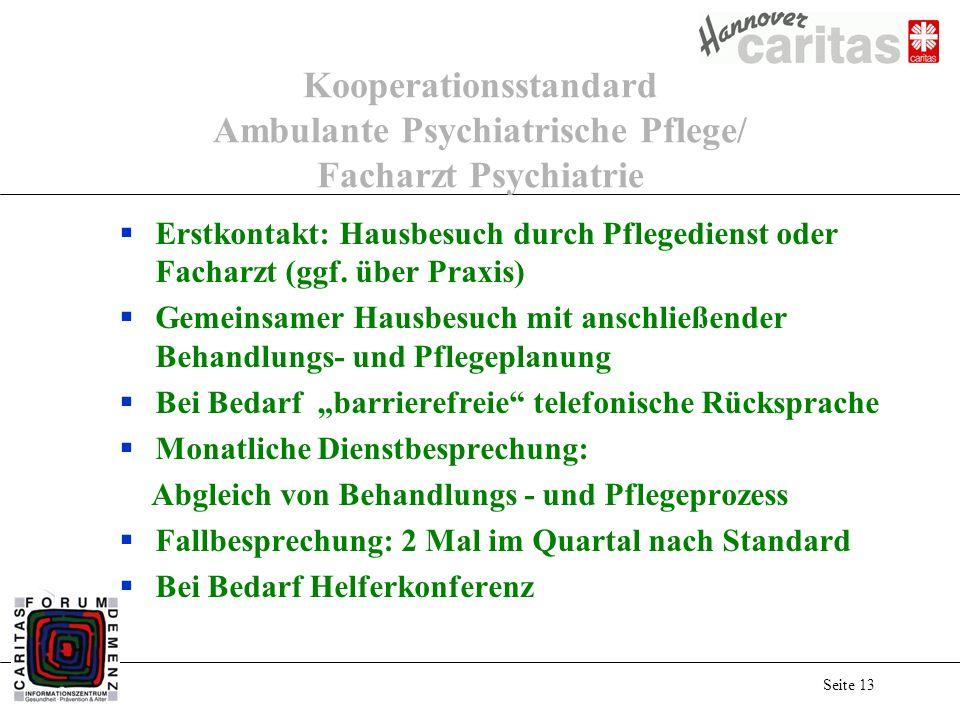 Seite 13 Kooperationsstandard Ambulante Psychiatrische Pflege/ Facharzt Psychiatrie Erstkontakt: Hausbesuch durch Pflegedienst oder Facharzt (ggf.