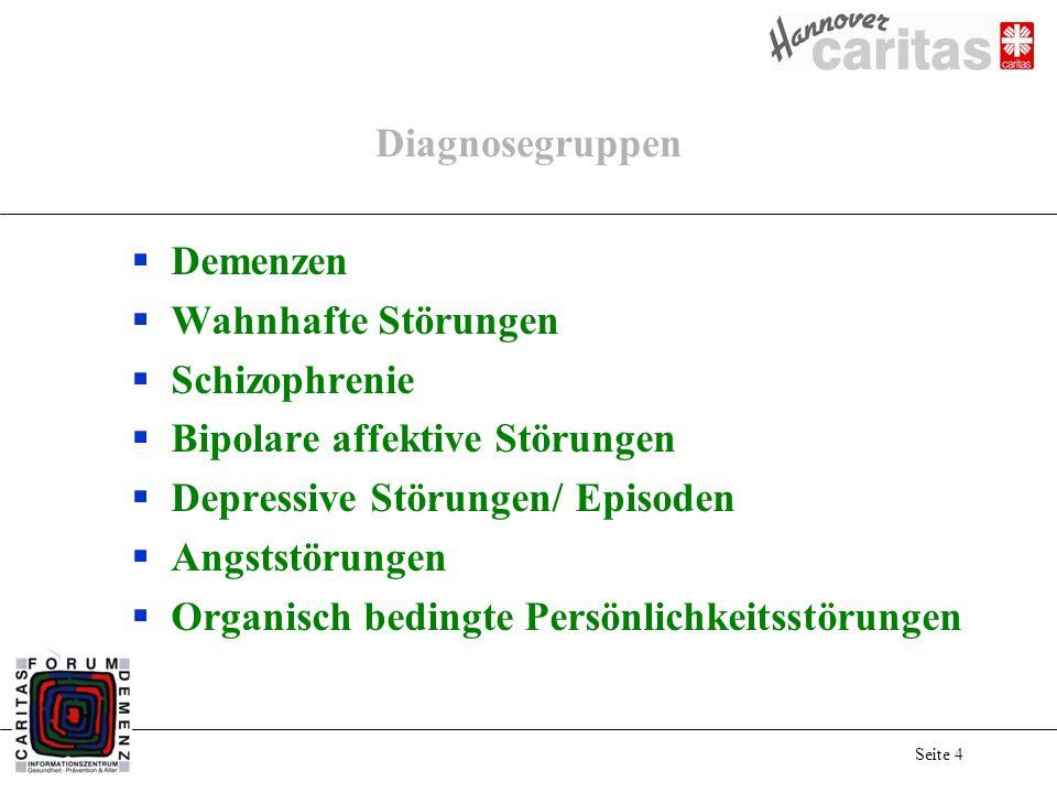 Seite 4 Diagnosegruppen Demenzen Wahnhafte Störungen Schizophrenie Bipolare affektive Störungen Depressive Störungen/ Episoden Angststörungen Organisch bedingte Persönlichkeitsstörungen