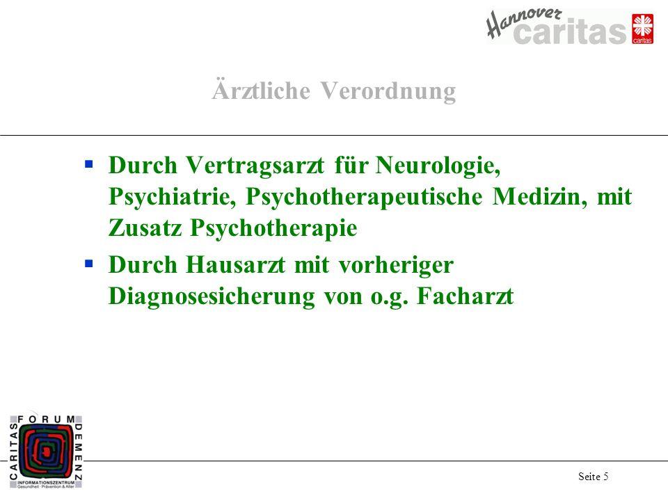 Seite 5 Ärztliche Verordnung Durch Vertragsarzt für Neurologie, Psychiatrie, Psychotherapeutische Medizin, mit Zusatz Psychotherapie Durch Hausarzt mit vorheriger Diagnosesicherung von o.g.
