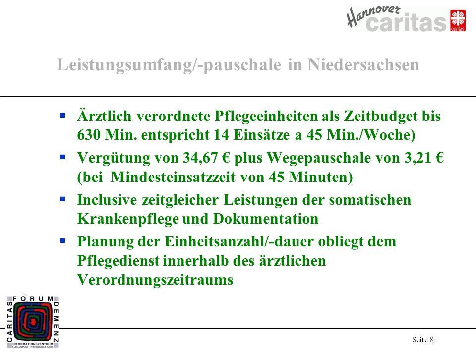 Seite 8 Leistungsumfang/-pauschale in Niedersachsen Ärztlich verordnete Pflegeeinheiten als Zeitbudget bis 630 Min. entspricht 14 Einsätze a 45 Min./W