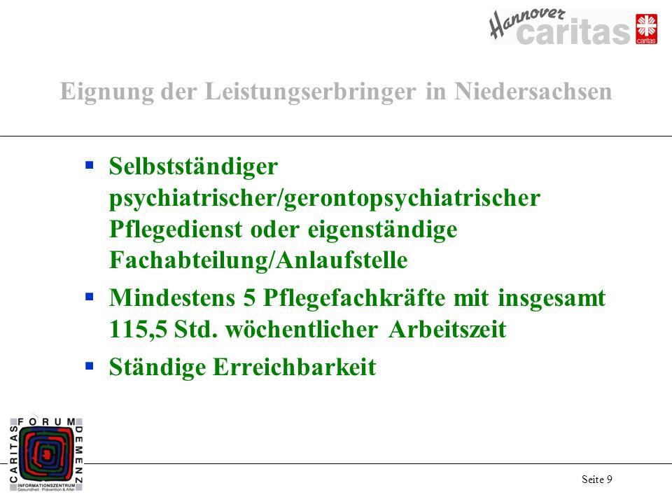 Seite 9 Eignung der Leistungserbringer in Niedersachsen Selbstständiger psychiatrischer/gerontopsychiatrischer Pflegedienst oder eigenständige Fachabteilung/Anlaufstelle Mindestens 5 Pflegefachkräfte mit insgesamt 115,5 Std.